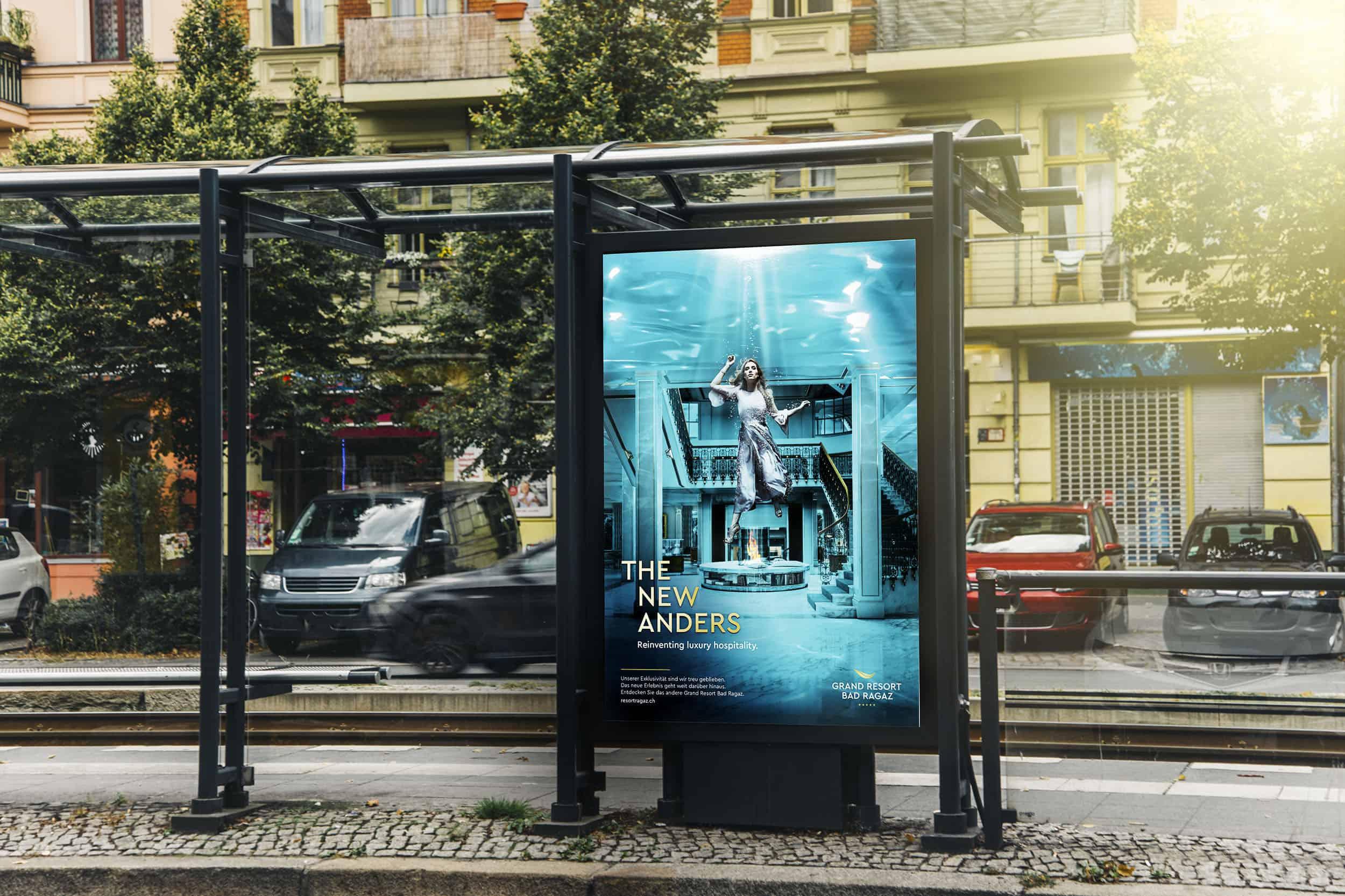 Blank billboard at tram station
